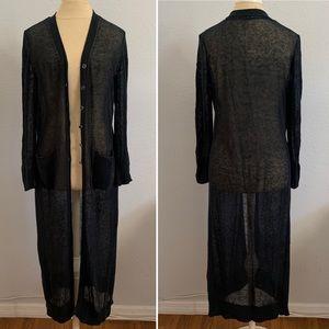 BOGO50%! Soft Surroundings Cardigan Navy Open Knit